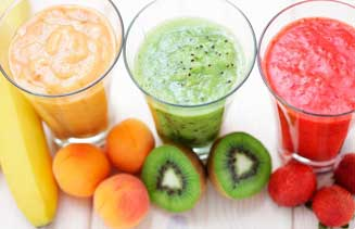 Batido de leche, soja y frutas