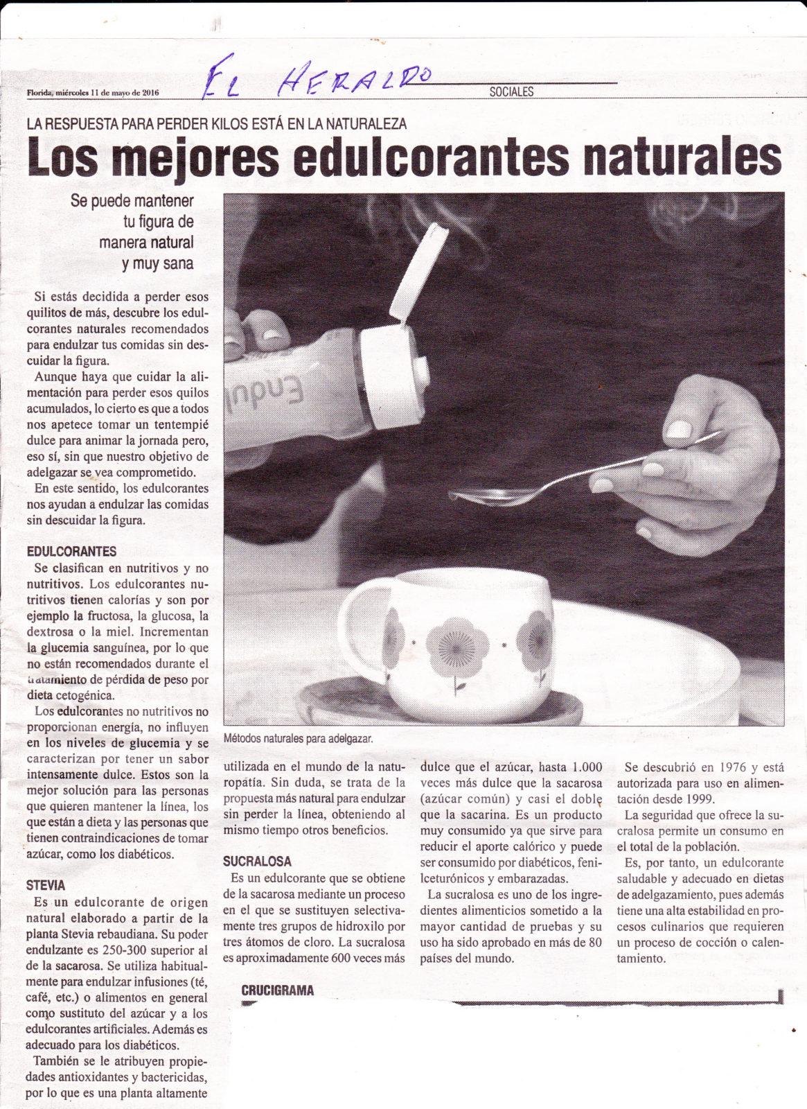 Ventajas del consumo de Stevia y Sucralosa publicada en El Heraldo de Florida el 11 de mayo de 2016